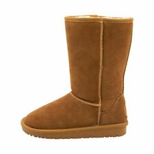 Women's Chestnut Suede Winter Boots - Leather with Thick Fleece Lining