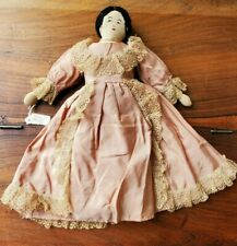 Antique Early 1900's Cloth Stuffed Yarn Hair Stitched Face Dressed Rag Doll