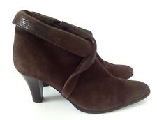 Van Dal TLC Dark Brown Suede Ankle Boots, Size 31/2 (fit 41/2)