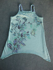 Beautiful Girls green waterfall butterfly patterned strappy top age 5 - 6 years
