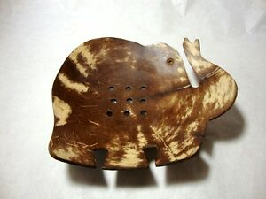Coconut Shell Soap Dish Handcraft Natural Elephant Holder For Bath Leaf Style