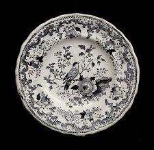 "19th C. Black Staffordshire Transferware Cup Plate, ""Bird"" by Wm. Adams c1840"