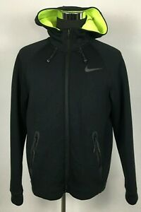 NIKE THERMA-SPHERE MAX Training Jacket Men's L Front-Zip Hooded  Black Polyester