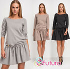 Womens Mini Skater Dress With Frill 3/4 Sleeve Boat Neck Party Sizes 8-12 FA464