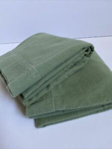 Pair (2) LL BEAN Vintage KING Size Thick Green FLANNEL pillow case set 2