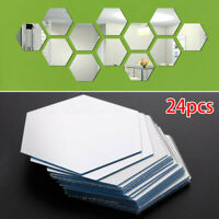 24pcs Set Mirror Glass Tile Wall Stickers Decal Mosaic Home Decor Peel And Stick
