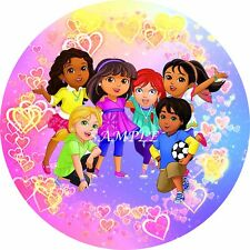 DORA & FRIENDS 7 inch  Edible Image Frosting Sheet Cake OR CUPCAKE Toppers
