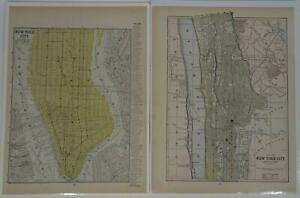 Lot 2 Antique Maps Manhattan Island New York City South and North