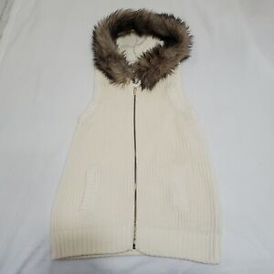 MICHAEL KORS Ivory Sweater Vest Ribbed Knit Faux Coyote Fur Hood Size: P/L