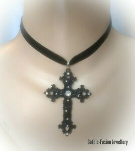 Ornate Large Black Cross Velvet Choker Necklace Gothic Bride Wedding Medieval