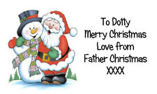 21 Personalised Father Christmas & Snowman Labels - your choice of wording