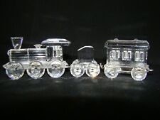 Swarovski 3 pc Train engine, tender car, carriage car lot