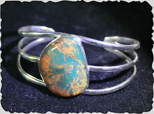 Dominican Natural Clear Light Blue Amber .925 Sterling Silver Bangle