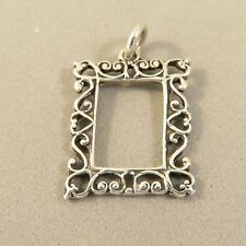 .925 Sterling Silver Open PICTURE FRAME CHARM Furnishing Home NEW 925 HM38