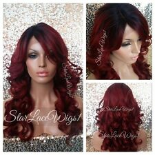 Lace Front Wig Human Hair Blend Wigs For Women Red Loose Curls Bangs Heat Safe