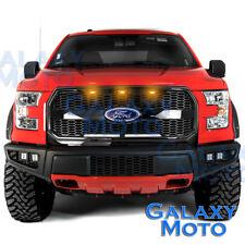 15-17 F150 Raptor Style Gloss Black Mesh Grille w/Emblem Housing+Amber LED light