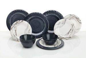 12-teiliges Melamingeschirr für 4 Personen Marble