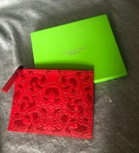 Shanghai Tang Ginkgo Embossed Red Leather Flat Pouch RRP £225 SOLD OUT