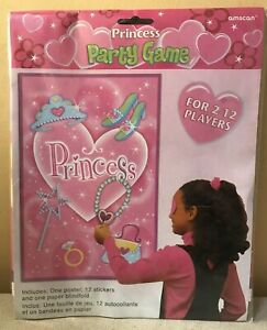 PRINCESS PARTY GAME KIDS BIRTHDAY FAVOUR 2 -12 PLAYERS PIN THE TALE STYLE GIRLS