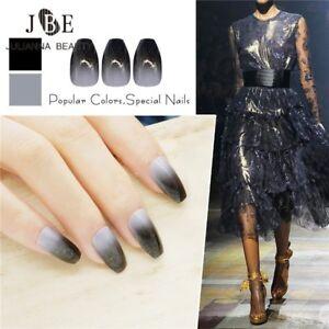 Black Ombre Pre Design Fake Nails Ballerina Acrylic False Nails Glitter Press on
