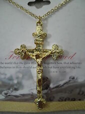 "Crucifix Jesus on Cross Catholic Christian 18"" Necklace, Gold Plated, USA, NEW"