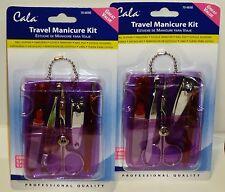 2 Professional Cala Travel Manicure Kit 5 Pcs In Each Set W PURPLE Case NIP