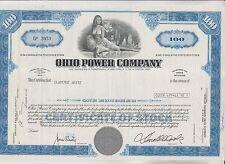 1971 OHIO POWER COMPANY STOCK CERTIFICATE  - OHIO
