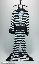 Rock & Roll Convict Costume 2 P Blk & Wht Stripe Celebrity 70's Style Jumpsuit