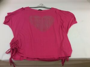 High rose size XXXL pink rouched side top with silver heart motif