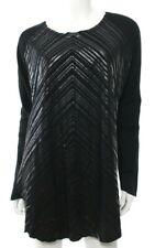 Kit & Ace Women's 10 Black Shiny Striped Shirt Top Tunic Boxy Casual LS EUC