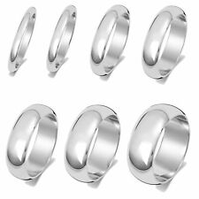 9 ct/Karat Weißgold 2, 2.5, 3, 4, 5, 6, 7, 8mm D-Form Herren/Damen - Trauring
