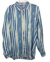 Tommy Bahama Mens Linen Blue White Stripe Long Sleeve Button Down XL