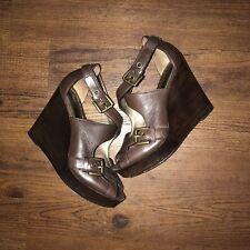$225 Coach Women's 8 M Shannon Wedge Platform Heels Strappy Buckle Sandals