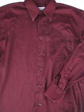 Pronto Uomo Mens Button Front Long Sleeve Burgundy Cotton Shirt 16
