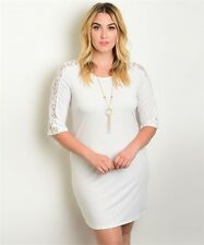 Womens Plus Size Ivory Lace Accent Dress with Necklace 2XL