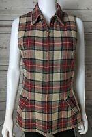 J. McLaughlin Sz 6 Vintage Plaid Tartan Red Tan Full Zip Wool Vest