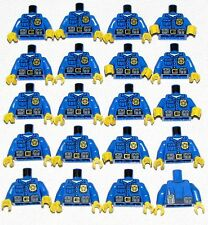 LEGO LOT OF 20 NEW BLUE POLICE COP MINIFIGURE TORSOS WITH BADGE