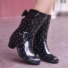 Women Rain Boots Waterproof Rubber Mid Calf Block Heel No-Slip Bowknot Shoes New