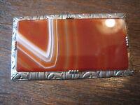prachtvolle Art Deco 835er Silber Brosche mit Lagenachat Handarbeit Unikat