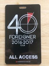 Foreigner 40Th Anniversary All Access Pass. 2016-2017 Tour. Very Rare!