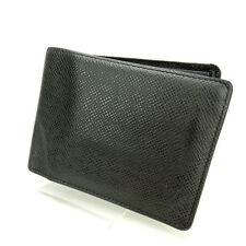 Louis Vuitton Wallet Purse Bifold Taiga Black Woman Authentic Used M1183