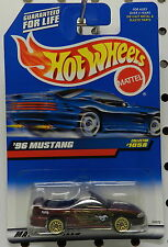 FORD MUSTANG  1996 CONV PONY GOLD WIRE FLAMES 1999 1058 MAROON HW HOT WHEELS