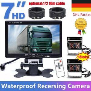 """7"""" LCD Monitor Rückansicht Kit 12V 24V + 2x 18LED IR Rückfahrkamera Für Bus LKW"""