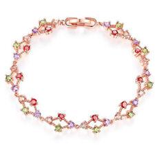 Wedding Gift Rose Gold Plated Natural Amethyst Morganite Peridot Garnet Bracelet