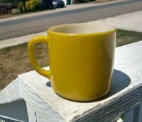 Vintage Federal 1950s Yellow/green Milk Glass Coffee Mug Heat Proof D handle cup