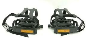 Cycle Pedals Toe Clips With Straps 19.5 mm Thread NEW