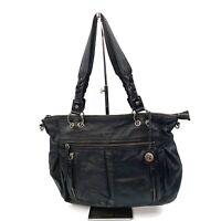 THE SAK Womens Black Leather Hobo Shoulder Purse Boho Chic Zipper Details