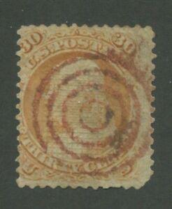 1867 États-unis Envoi Tampon #100 D'Occasion Moyenne Cible Cancel F Gril