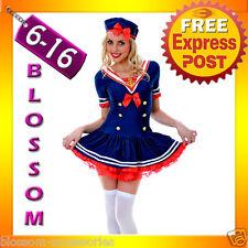 BC11 Navy Sailor Girl Uniform Ladies Rockabilly Pin Up Fancy Dress Costume & Hat