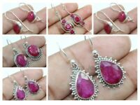 Pink Ruby Gemstone Earrings Solid 925 Sterling Silver Bridal Gift Jewelry